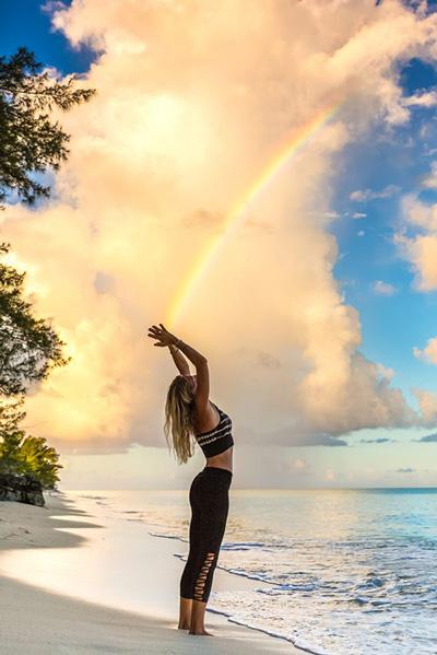 Bimini yoga on beach