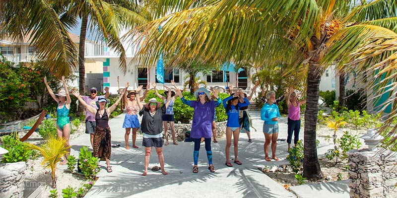 group of people standing under palm trees with arms in the air